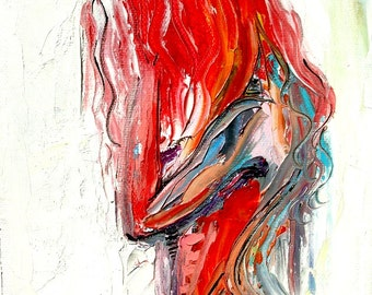 Abstract Nude print colorful art by Aja Femme 320 - 9x12 and 18x24 inches choose your size