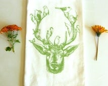 Deer & Birds Kitchen Dish Towel, Tea Towel, Hand Printed, Soft Sage Green Ink, Cotton Flour Sack, Hostess Gift, Teachers Gift, Made in USA
