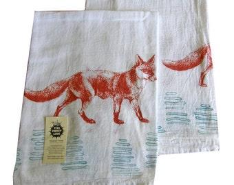 Fox Kitchen Dish Towel Set/2-Cotton Flour Sack-Tea Towel-Orange&Turquoise, Mothers Day Gift, Hostess Gift, Housewarming Gift