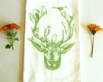 Deer & Birds Kitchen Dish Towel, Tea Towel, Hand Printed, Soft Sage Green Ink, Cotton Flour Sack, Hostess Gift, Teachers Gift, Made in USA