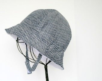 Baby Sun Hat in Denim Polka Dot