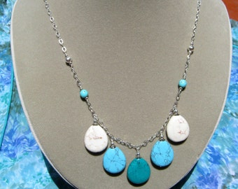 Turquoise Blue and White Silver Teardrop Necklace - Free Shipping