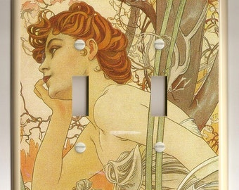 """Alphonse Mucha """"Evening"""" Art Nouveau - Double Light Switch Plate inEarth Tones, Tan, Brown and Green"""