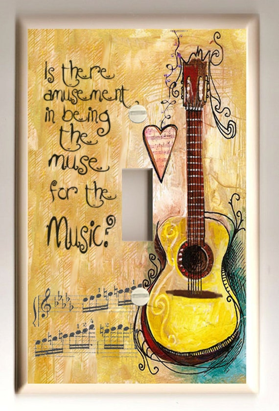 """Single Light Switch Plate """"Guitar Muse for the Music"""" Folk Art in Warm Shades of Golden Yellow and Brown"""