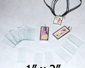100 pack of 1 x 2 Inch Rectangles - Clear Pendant Glass