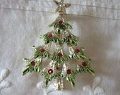 Vintage Lancer Christmas Tree Pin Silver with Red and Green  A Classic