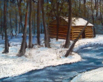 Winter Cabin Original Pastel Painting 12x6 inches Cades Cove Smoky Mountains National Park FREE SHIPPING
