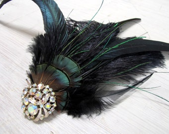 Dramatic Cabaret v5 - Iridescent Feather and Vintage Rhinestone Jeweled Headpiece, for the Avant Garde Bride or Swanky Noir Evening Look