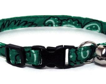 Cat Collar - Medium Green Bandana - Breakaway Safety Cute Fancy Cat Kitten Collar