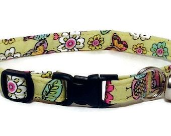 Cat Collar - Cute Owls, Flowers and Butterflies - Breakaway Safety Cute Fancy Cat Kitten Collar