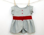 Girls Minimalist Peplum Top 3-6 Months Modern Baby Red Concrete Gray Up-cycled