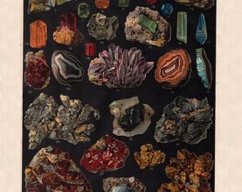 vintage gemstone print, 'Minerals, Gems, Semi-precious, and Precious Stones',  printable digital collage sheet no. 912