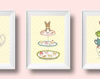Children's Wall Art Print Set of 3 - Friends for Tea - Girl Kids Nursery Room Decor