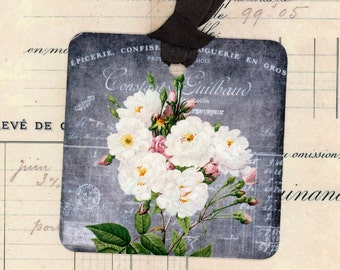 Chalkboard Type Gift Tags - Grey and Pink Tags - Vintage Rose Tags - Shabby Tags - French Tags - Wedding Tags - Bridal Shower
