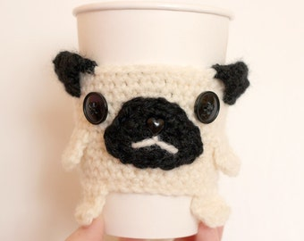 Pug Coffee Cup Cozy - Ready To Ship