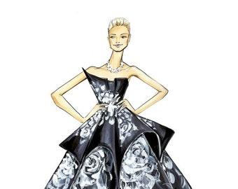 Karolina Kurkova - Marchesa - Fashion Illustration - Brooke Hagel