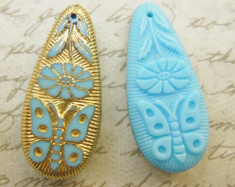 LaRgE vintage pendant  (1) reversible butterfly flower gold turquoise blue glass intaglio teardrop Reversible etched over 1.5 inches (1)