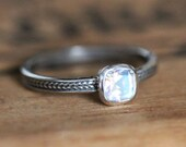 Rainbow moonstone ring, non diamond engagement ring, silver engagement ring, wheat braid ring, unique promise ring, eco friendly, custom