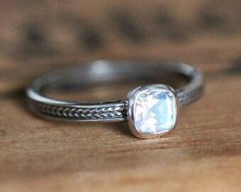 Rainbow moonstone ring, non diamond engagement ring, silver engagement ring, wheat braid ring, unique promise ring, eco friendly, custom