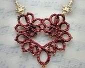 Necklace marsala and gold heart tatted lace Art Nouveau style original fiber art jewelry