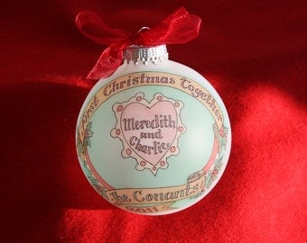 FIRST CHRISTMAS TOGETHER Romantic Heart Original Keepsake Personalized Ornament Handpainted and Personalized