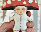 Anthropomorphic Red and white Mushroom Ornament Fy Agaric Amanita Toadstool Folk Art Doll