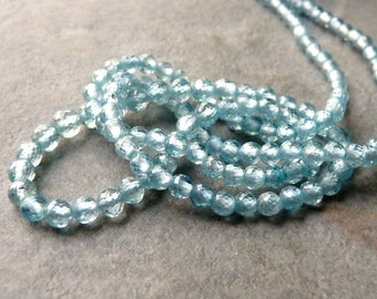 AAA Blue Zircon Gemstone Faceted Round Accent Beads - 2mm- 12 Beads