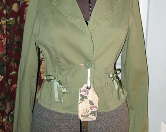 Vintage Sage Green Plugg Jacket Size M with Ribbon Trim