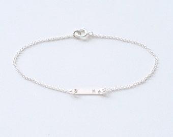Initial bar bracelet - tiny bar silver chain bracelet - engraved sterling silver bar - delicate minimalist jewelry - Initial Dash Bracelet