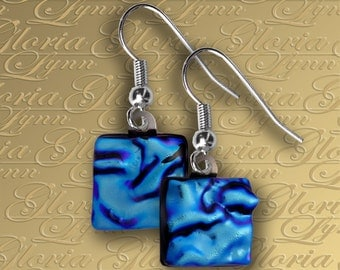Turquoise Blue Dichroic Fused Glass Earrings - ER454