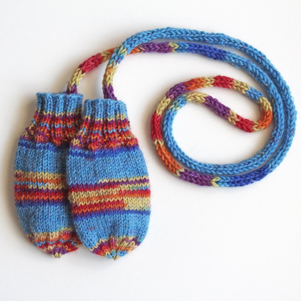 Knitting Pattern For Baby Mittens Without Thumb : Thumbless Baby Mittens on a String. Infant 9 to 12 Months Knit