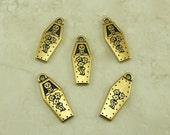 5 TierraCast Coffin Day of the Dead Charms > Skeleton Skull Halloween Casket - 22kt Gold Plated Lead Free Pewter I ship internationally 2323