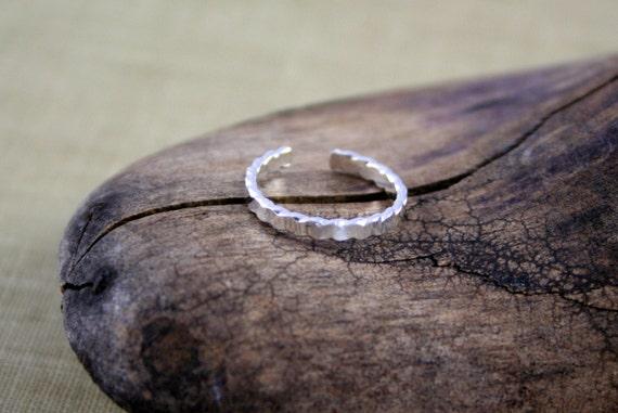 Flat Twist Sterling SIlver Toe Ring Handmade Body Jewelry