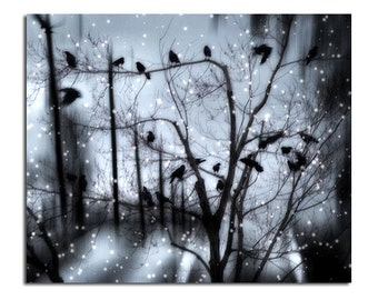 Surreal Snow, Fantasy Goth, Trees, Blue Winter, Digital Art, Surreal Crows, Birds In Winter, Nature Avian Art - Gothic Snow