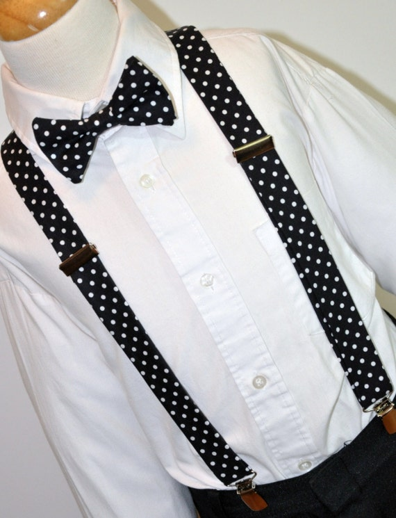black and white dots boy s bow tie and suspenders