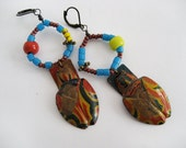 ClickClackClick: beaded rustic bohemian boho junk gypsy tribal toy circus carnival prize patina earrings