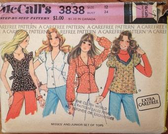 1970's  Boho Top Pattern Vintage McCall's 3838 size 12