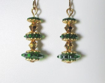 Stacked Green and Gold Swarovski Crystal Earrings Handmade