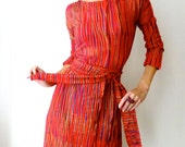 Red Jersey Dress, Handmade Day Dress, Screenprint T Shirt Dress, Metallic Gold Stripes, Unique Casual Party Dress, Retro Style, Wearable Art