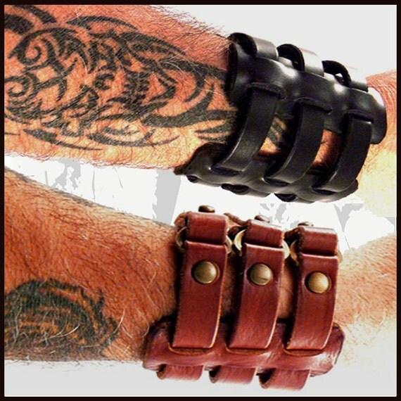 SALE Black Trilogie Leather Cuff/Leather Bracelet/Leather Band/Motorcycle/Renaissance/Festival/Steampunk/Leather Armband/Cuff Bracelet/Goth
