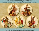 INSTANT DOWNLOAD - Printable Bottle Cap Images - Victorian Rabbits - Digital PDF File