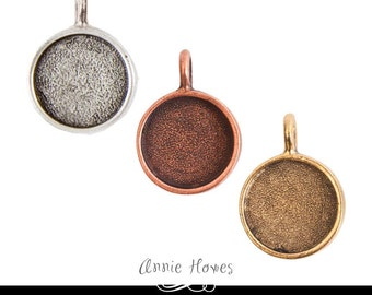 Small Circle Bezel Pendant Setting for Photo Jewelry. Antique Silver, Antique Copper, or Antique Gold plated..