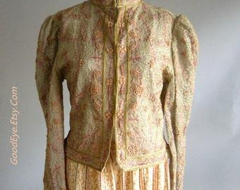 Amazing Embroidered Bolero Jacket / Bust 36 size small 6 8 10/  Silk Metallic Apricot  Vintage Gold VICTORIANA Evening