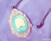 Pastel Pink Rib Cage Illustrated Cameo Necklace - Perfect Pastel Goth Kowai Kawaii