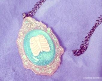 Pastel Pink Rib Cage Illustrated Cameo Necklace - Perfect Pastel Goth Kowai Kawaii
