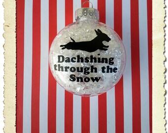 Dachshund Dachshing through the Snow Christmas Ornament