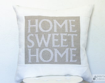 Home Sweet Home on Natural Linen Pillow Cover Embroidered with Zipper closure