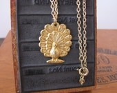 Gold Peacock Charm Necklace Vintage Style by Alice Wears Gold