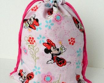 Minnie Mouse Drawstring Bag, children crayons bag, kids storage bag, fabric bag, traveling packing bag, reusable fabric bag, light pink bag
