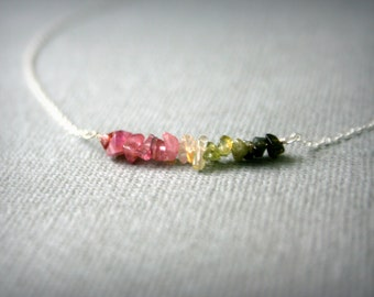 Tiny sterling silver necklace with watermelon Tourmaline chips , bar necklace , pink and green , ombre , minimalist necklace